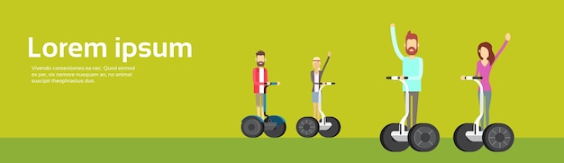 Young man woman group ride segway bicycle motor scooter Premium Vector