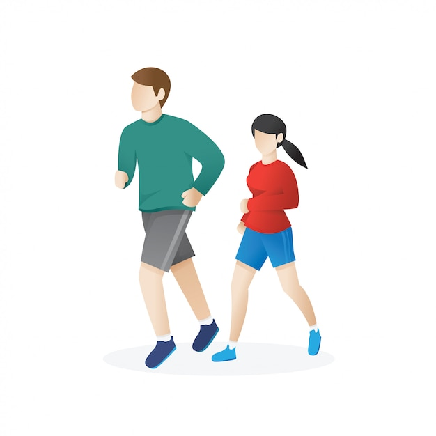 Young man and a woman running Premium Vector