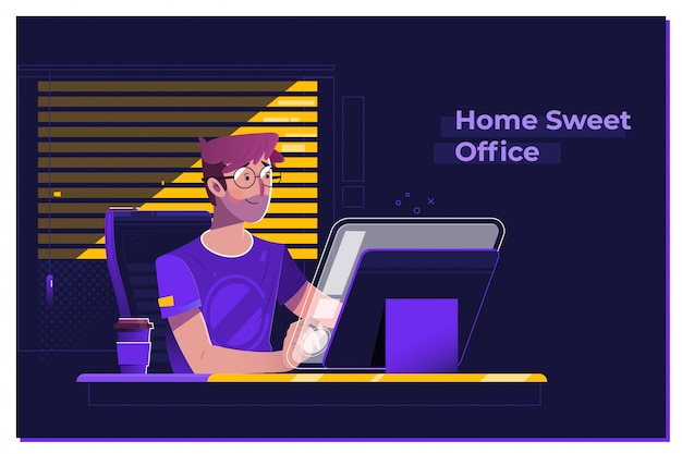 Young man working on modern loft office at night Premium Vector