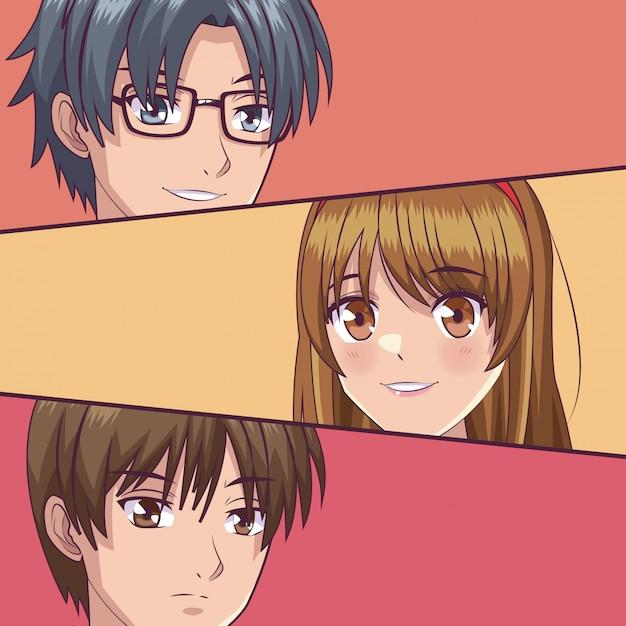 Young manga faces cartoons Premium Vector