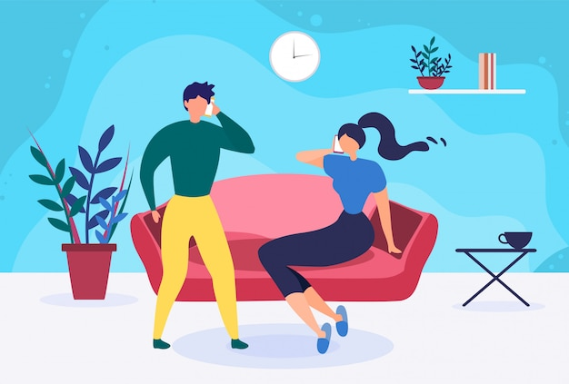 Young married couple talking phone at home cartoon Premium Vector