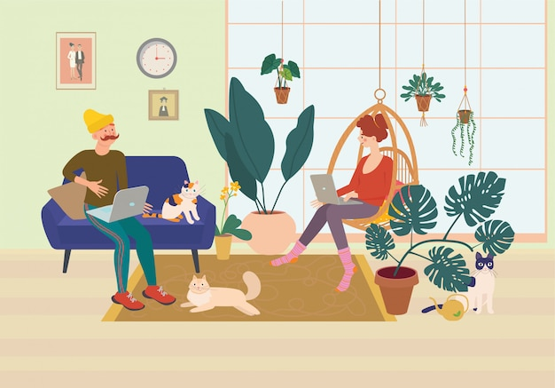 Young married couple working on a computer in a comfortable home environment. home office, remote work, freelance, peaceful atmosphere with a laptop. Premium Vector