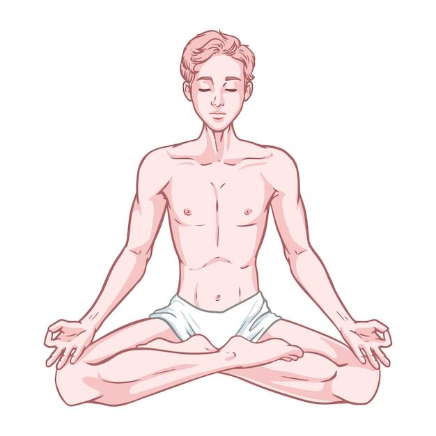 Молодой размышляя человек йога в представлении лотоса изолированном на белой предпосылке. Premium векторы