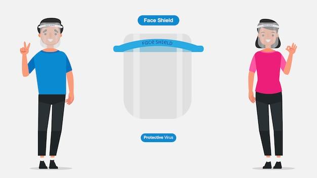Молодые человеки и женщины носят медицинские лицевой щиток гермошлема или экран. концепция карантина коронавируса. иллюстрация персонажа. Premium векторы