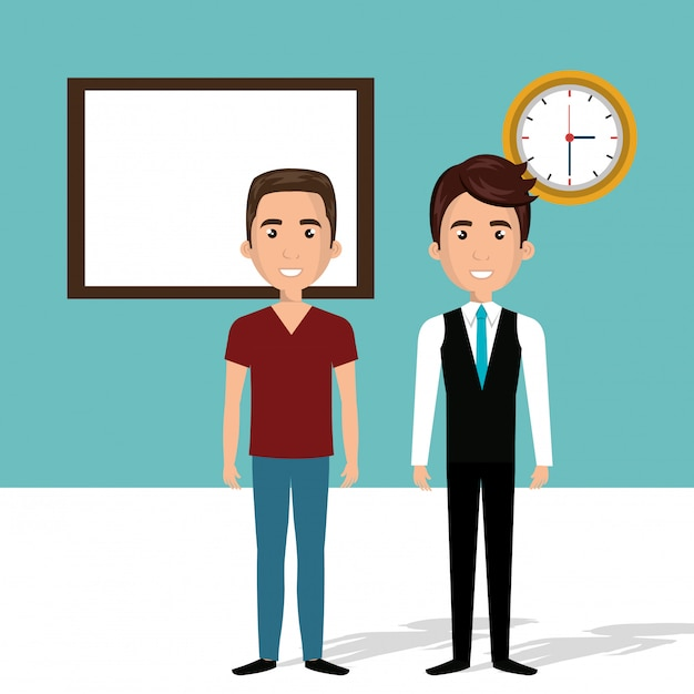 Young men in the classroom characters scene Free Vector