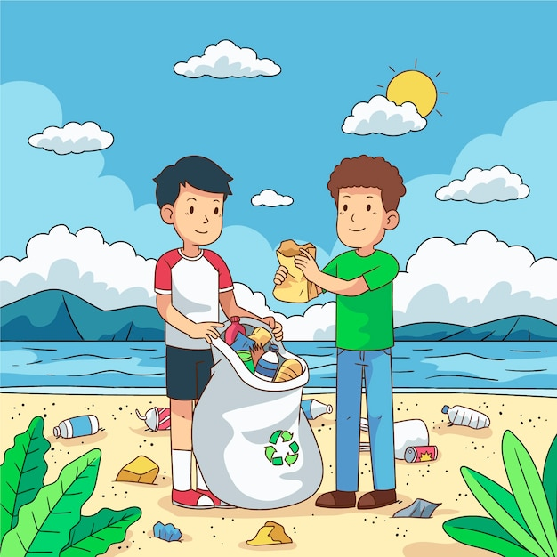 Young men cleaning plastic garbage on waterfront Free Vector