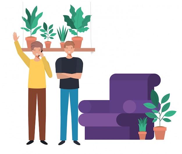 Young men in living room avatar character Premium Vector