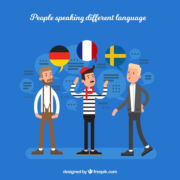 Young men speaking different languages with flat design Free Vector