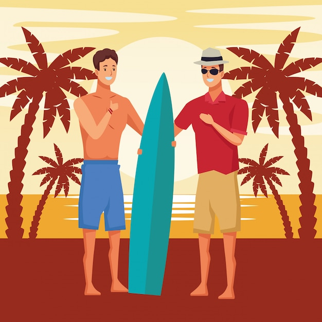 Young men in summer time cartoons Free Vector
