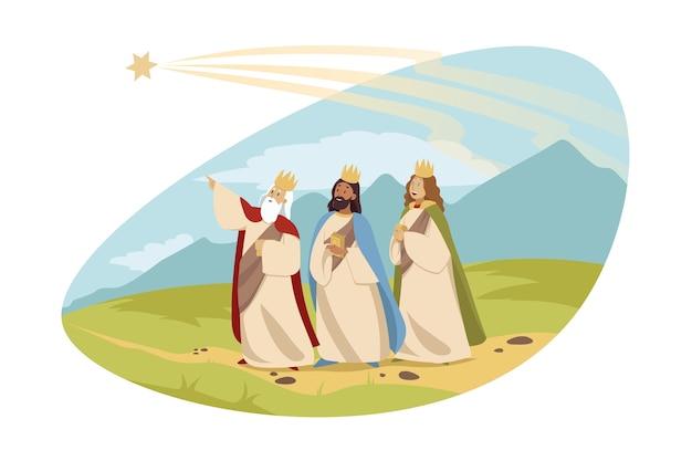 Юноши цари каспар мельхиор бальтазар следуют за вифлеемской звездой с подарками Premium векторы