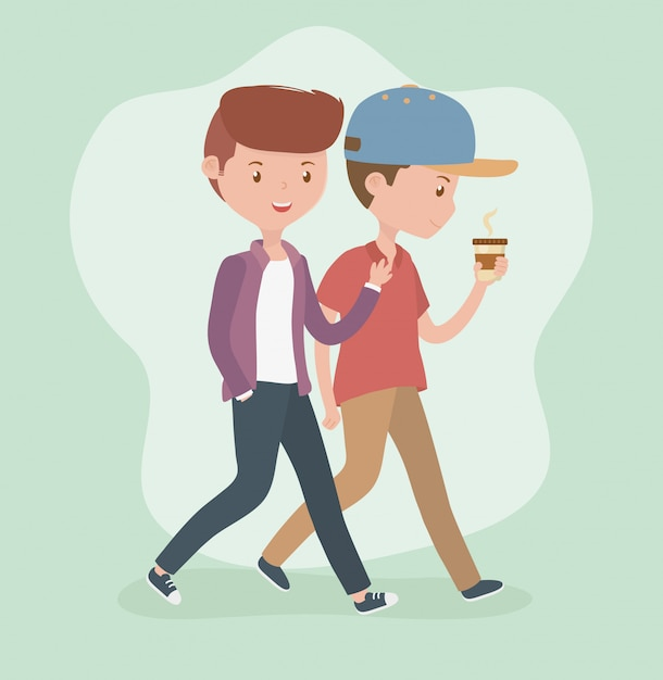 Young men walking with coffee cup avatars characters Free Vector