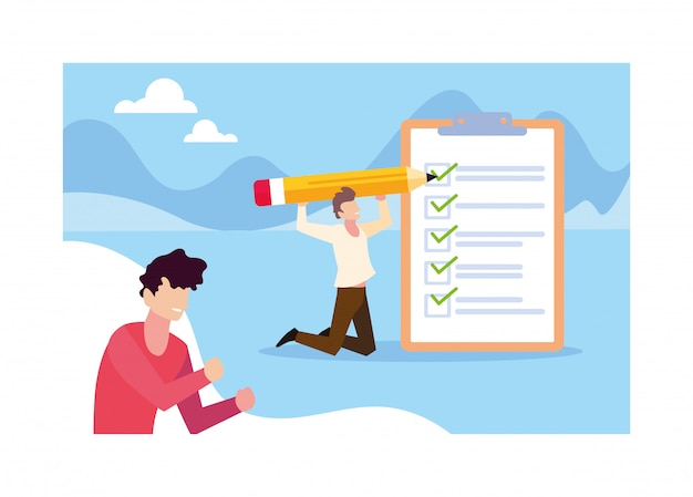Young men with clipboard and pencil Premium Vector