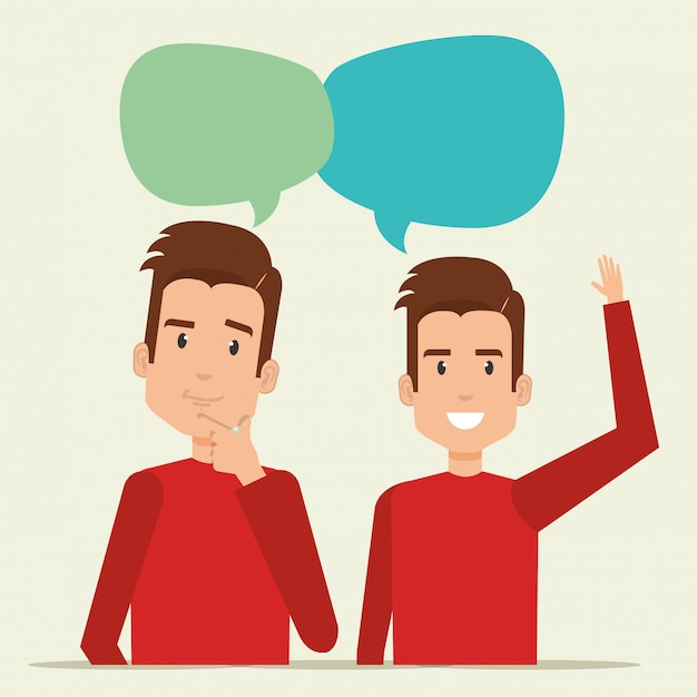 Young men with speech bubble Free Vector