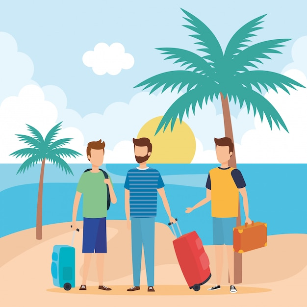 Young men with suitcases on the beach Premium Vector
