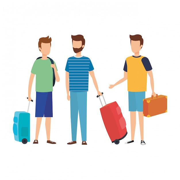 Young men with suitcases travel Premium Vector