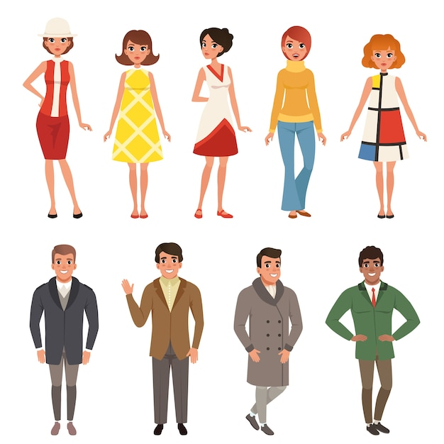 Young men and women wearing retro clothing set, vintage fashion people from 50s and 60s Premium Vector
