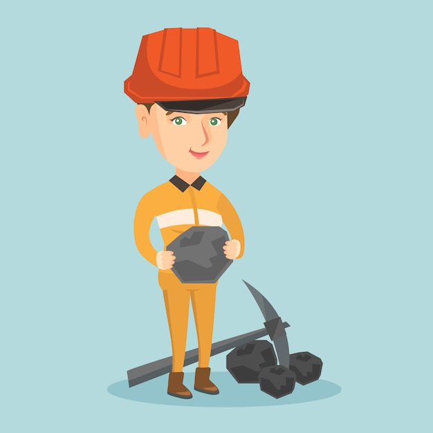 Young miner in hard hat holding a piece of coal. Premium Vector