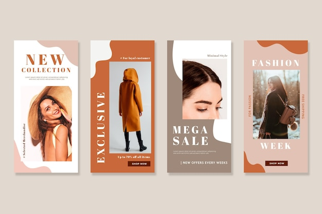 Young models organic instagram sale stories Free Vector