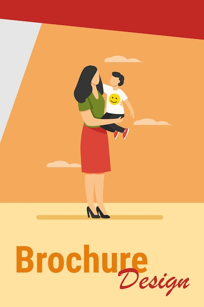 Молодая мама, держа на руках ребенка малыша. мать и сын, стоя на открытом воздухе, обнимая плоские векторные иллюстрации. материнство, уход за детьми, концепция семьи Бесплатные векторы