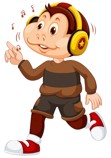 A young monkey character Free Vector