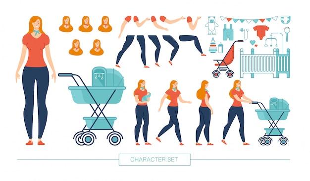 Молодая мать конструктор персонажей плоский набор Premium векторы