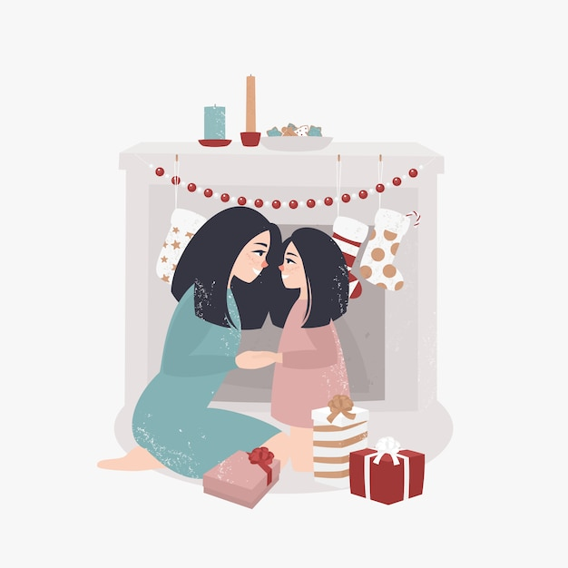 Young mother and daughter sit by the fireplace and open christmas presents Premium Vector
