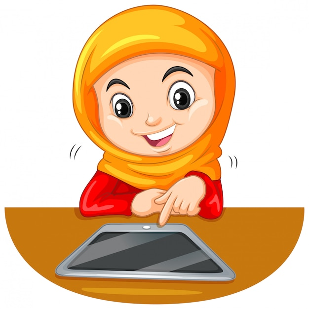 Young muslim student using a tablet Free Vector