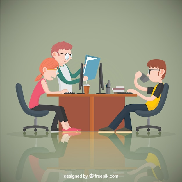 Young office workers Premium Vector