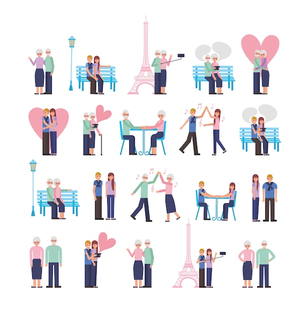 Young and old parents lovers couple characters Free Vector