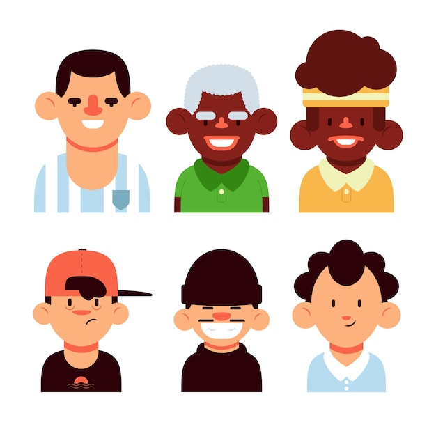 Young and old people avatars Free Vector