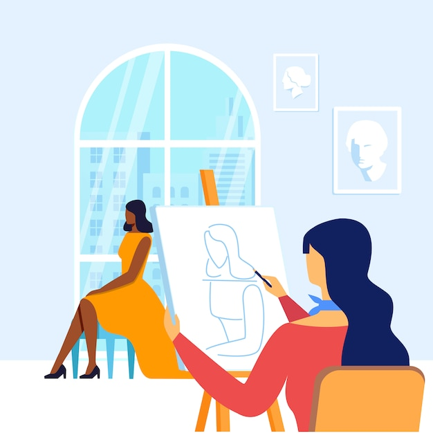Young painter drawing model vector illustration Premium Vector