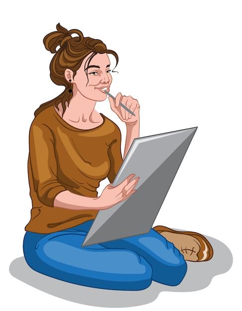 Giovane ragazza del pittore in maglione marrone e blue jeans pensando all'idea di disegno Vettore gratuito