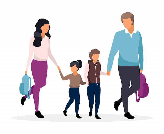 Premium Vector | Young parents with school children flat illustration.  family going to school together and holding hands cartoon characters. father  and mother with two preteen kids. schoolboy and schoolgirl