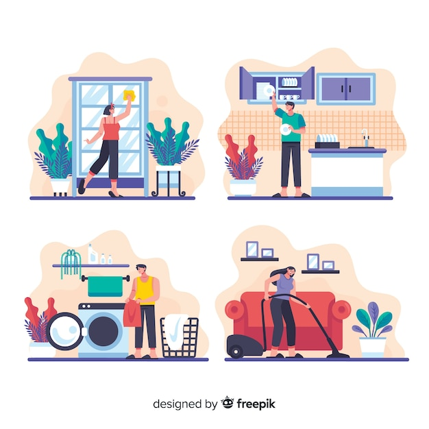 Young people activities collection of housework Free Vector