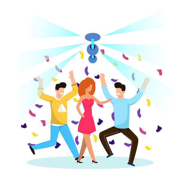 Young people are having fun and dancing cartoon. Premium Vector