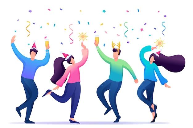 Молодые люди на рождественском корпоративе танцуют, веселятся. Premium векторы