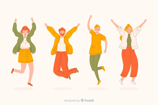 Young people being happy and jumping Free Vector