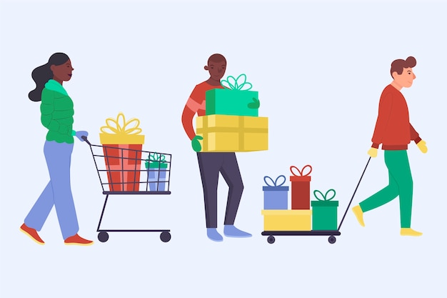 Young people buying christmas gifts Free Vector