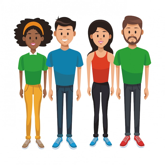 Young people cartoon Premium Vector