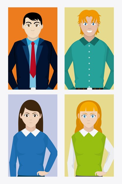 Young people cartoons on squares frames collection Vector | Premium ...