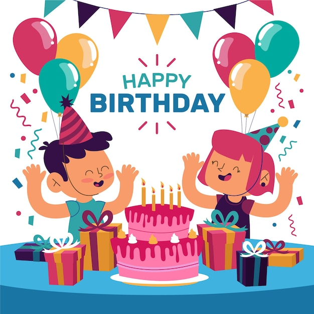 Young people celebrating birthday party Free Vector