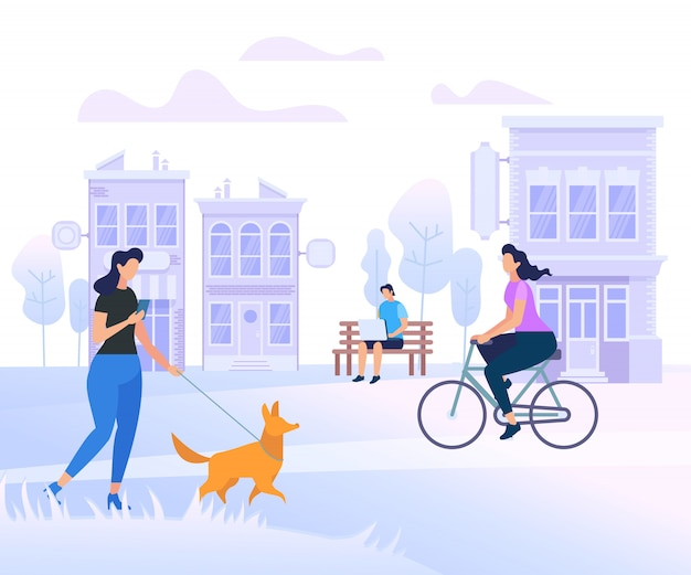 Young people characters walking in city Premium Vector
