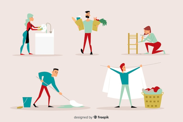 Young people cleaning the house together illustrated Free Vector