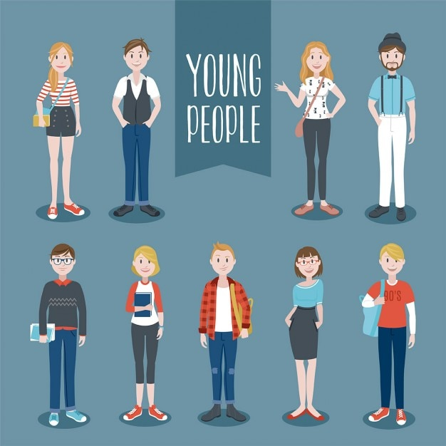 Young people collection  Free Vector