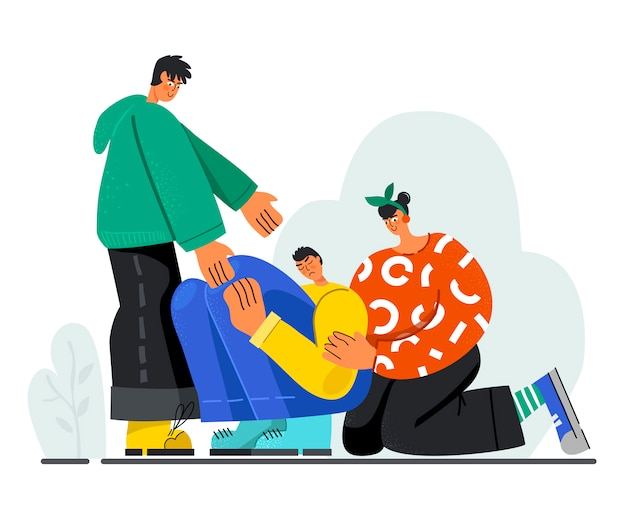 Молодые люди утешают грустного парня, протягивая руку помощи. понятие сочувствия. Premium векторы