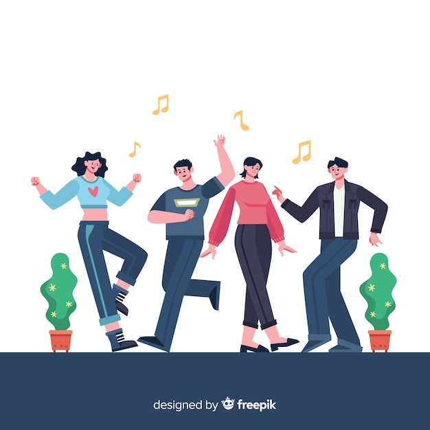 Young people dancing. character design Free Vector