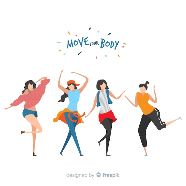 Young people dancing. dance classes. party Premium Vector