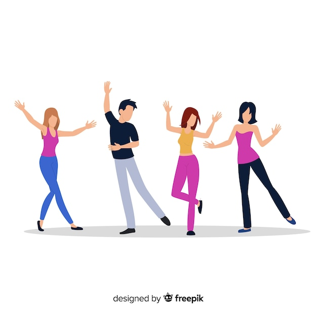 Young people dancing. dance classes. party Free Vector