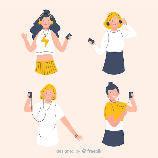Young people dancing on music Free Vector