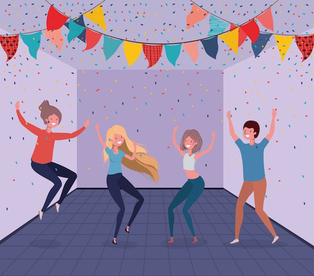 Young people dancing in the room Free Vector